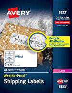 avery trueblock white laser shipping labels 5264 3 13 x 4 pack of