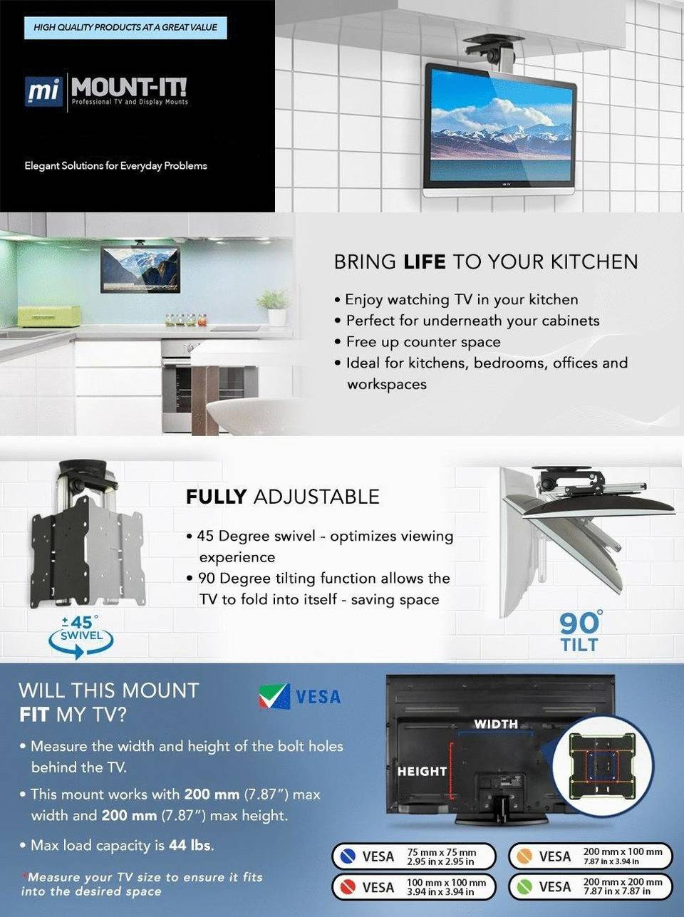 Mount It  Under Cabinet TV Mount. Mount It  TV Ceiling Mount Kitchen Under Cabinet TV Bracket