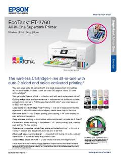 View Epson EcoTank ET-2760 All-in-One Supertank Printer Product Specifications PDF