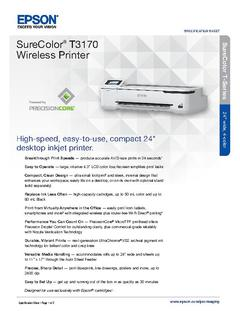 View Epson SureColor T3170 Wireless Printer Product Specifications PDF