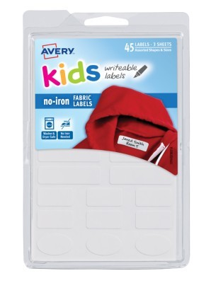 Avery® No-Iron Clothing Labels, 40700, White, Pack Of 45 Item # 1236439