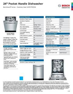 View Spec Sheet - Dishwasher - SHP87PW55N PDF