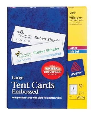 Avery Large Embossed Tent Card White 3 12 X 11 1 Cardsheet 50