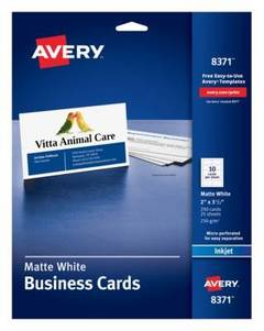 Avery inkjet microperforated business cards 2 x 3 12 matte for Avery templates 28371