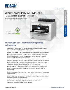 View Epson WorkForce Pro WF-M5299 Replaceable Ink Pack System Product Specifications PDF