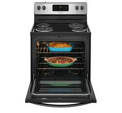 Frigidaire Electric Freestanding Range: FFEF3016TM, Door open, Loaded