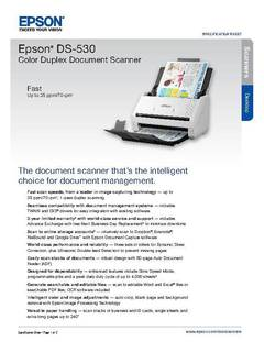 View Epson DS-530 Color Duplex Document Scanner Product Specifications PDF