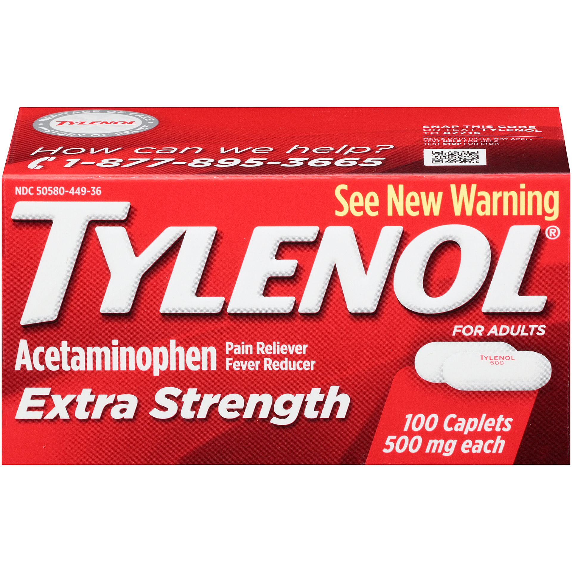 tylenol extra strength pain/fever relief 500mg - 100 caplets | rite aid