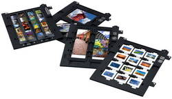 "The 8"" x 10"" transparency unit (built into lid) has four film holders: 35mm negatives, 35mm slides, medium format and 4"" x 5"", 8"" x 10"" film area guide"