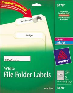 Avery® 08366, Permanent File Folder Labels, TrueBlock, Laser ...