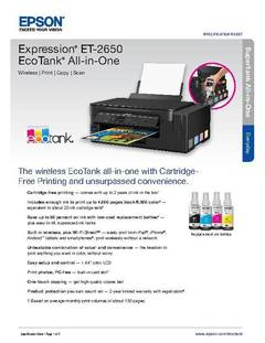 View Epson Expression ET-2650 EcoTank All-in-One Product Specifications PDF