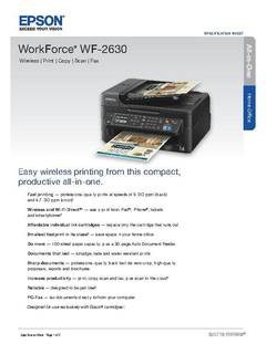 View WorkForce WF-2630 Product Specifications PDF