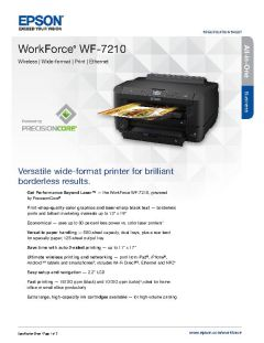 View Epson WorkForce WF-7210 Product Specifications PDF