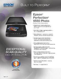 View Perfection V550 Photo Scanner Product Specifications PDF