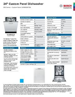 View Spec Sheet - Dishwasher - SHVM98W73N PDF