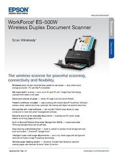 View Epson WorkForce ES-500W Wireless Duplex Document Scanner Product Specifications PDF