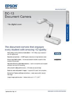 View Epson DC-13 Document Camera Product Specifications PDF