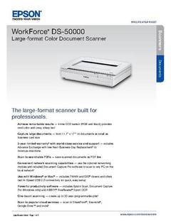 View Epson WorkForce DS-50000 Large-format Color Document Scanner Product Specifications PDF