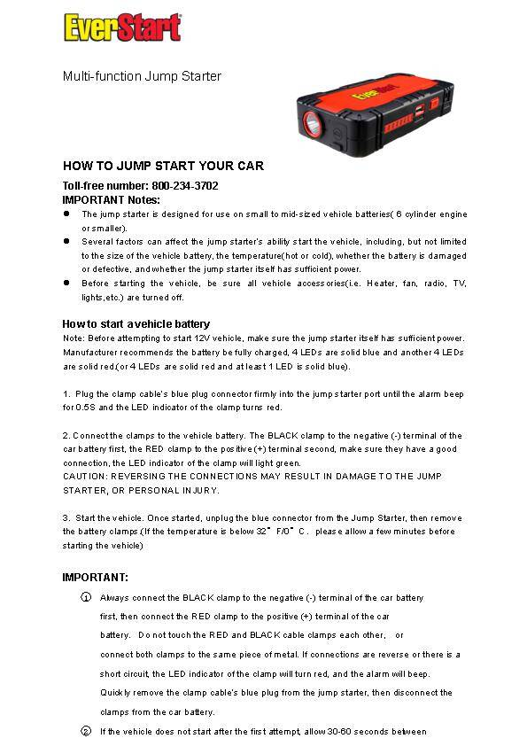 Everstart Battery Charger Manual Everstart Starter Amp