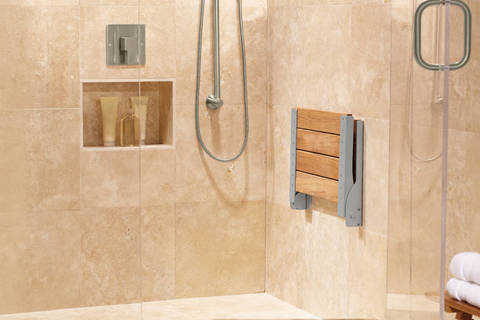 Shop Moen Home Care Stainless Steel Teak Wall Mount Shower Seat at ...