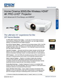 View Epson Home Cinema 5050UBe Wireless HDMI 4K PRO-UHD (1) Projector Product Specifications PDF