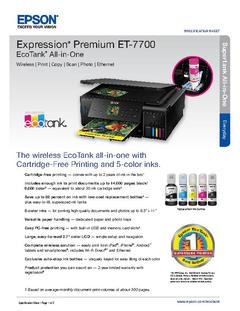 View Epson Expression Premium ET-7700 EcoTank All-in-One Product Specifications PDF
