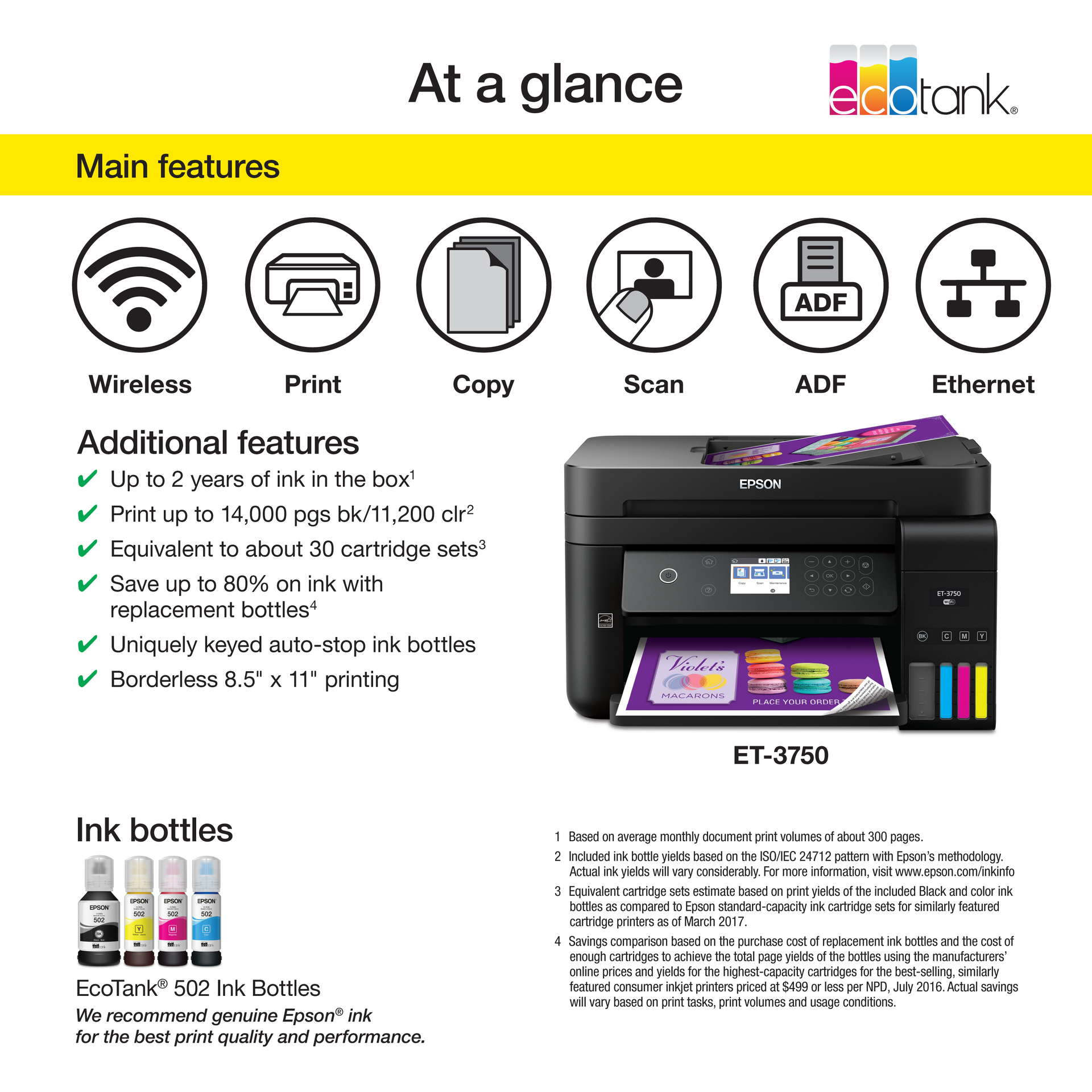 Epson WorkForce ET-3750 EcoTank Wireless All-in-One Supertank Inkjet  Printer, 8 0ppm Color, 4800x1200 dpi - Print, Copy, Scan, ADF