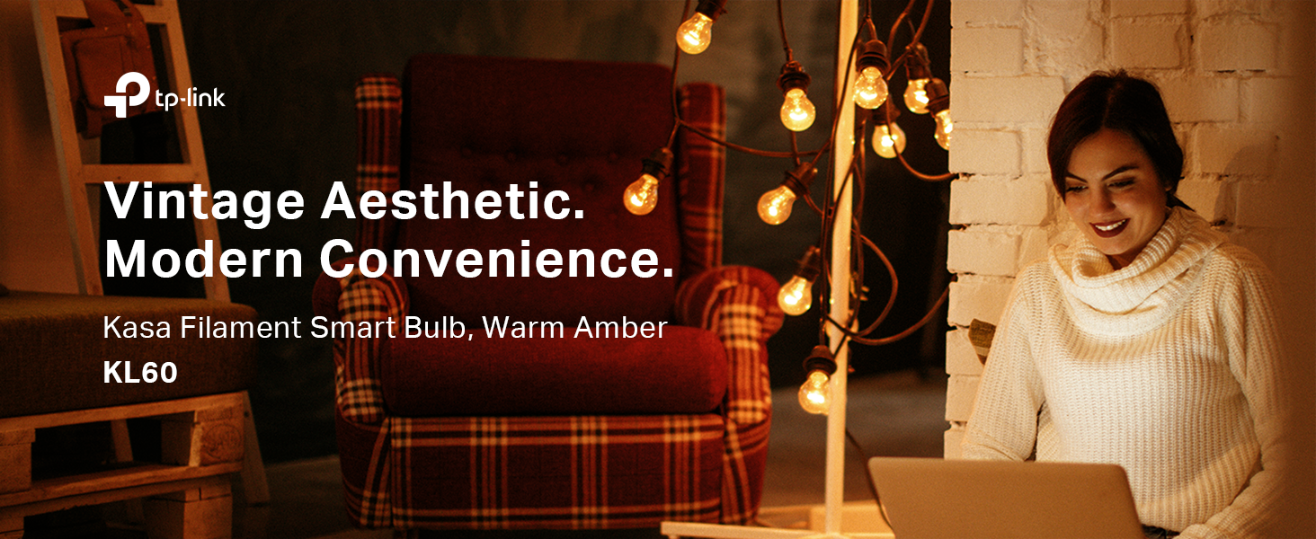KL60 - Kasa Filament Smart Bulb, Warm Amber