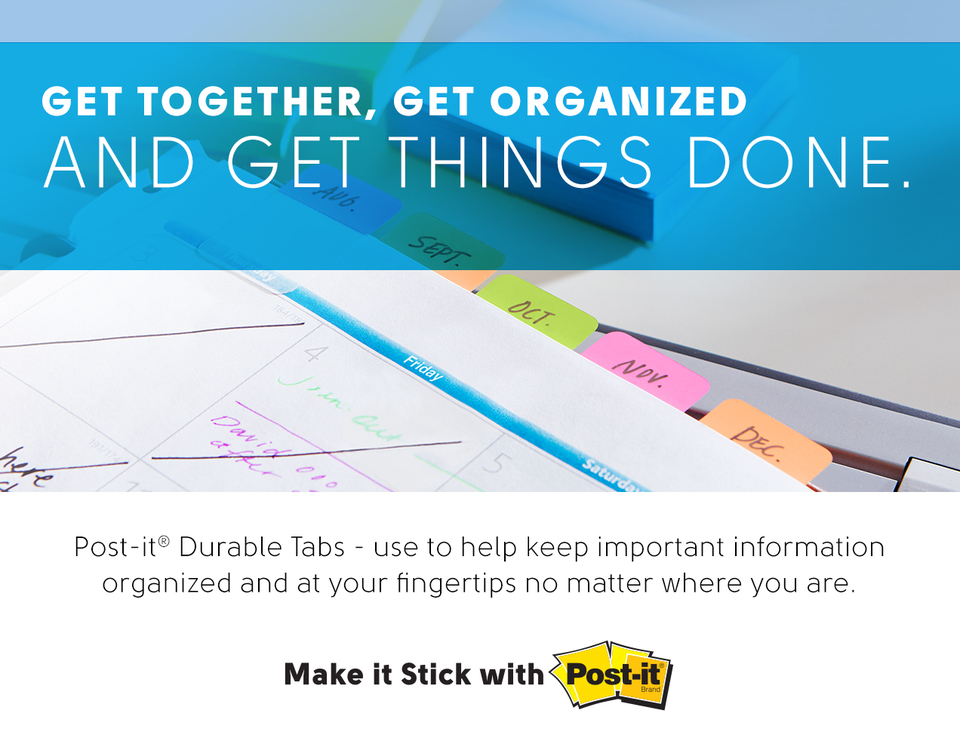 organized, get things done, tabs, home, office, school