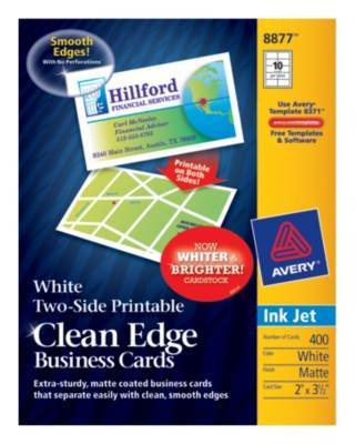 avery printable microperf business cards inkjet 2 x 3 1 2 white