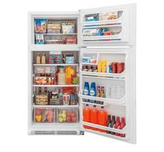 Frigidaire Top-Mount Refrigerator: FFTR1821TW, Door open, Loaded