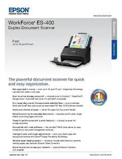 View Epson WorkForce ES-400 Duplex Document Scanner Product Specifications PDF