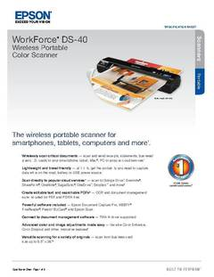 View WorkForce DS-40 Product Specifications PDF