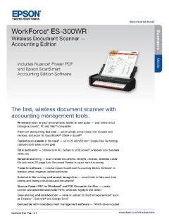 View Epson WorkForce ES-300WR Wireless Document Scanner Product Specifications PDF