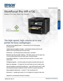 View Epson WorkForce Pro WF-4730 Product Specifications PDF