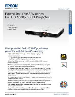 View Epson PowerLite 1795F Wireless Full HD 1080p 3LCD Projector Product Specifications PDF