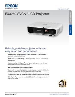 View Epson EX3260 Projector Product Specifications PDF