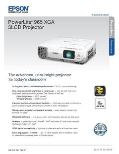 PowerLite 965 Product Specification Sheet - opens PDF