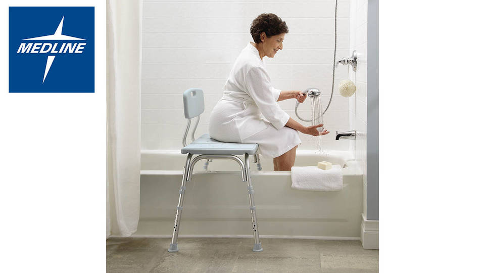 Medline Transfer Bench with Back & Microban - Walmart.com