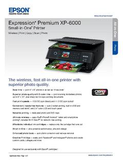 View Epson Expression Premium XP-6000 Small-in-One Printer Product Specifications PDF