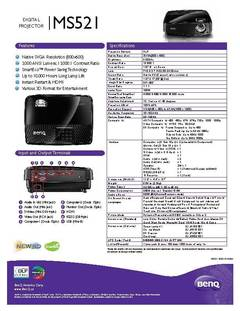 MS521 Projector Specification Sheet - opens PDF