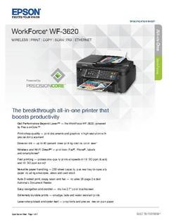 View WorkForce WF-3620 Product Specifications PDF