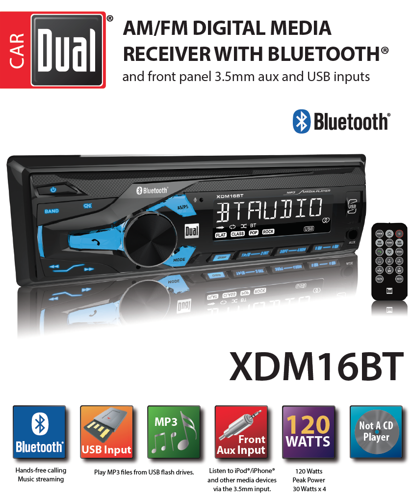 Dual Electronics Xdm16bt High Resolution Lcd Single Din Car Stereo Well 2002 Mazda Tribute Wiring Diagram On 2014 3 With Built In Bluetooth Usb Mp3 Player