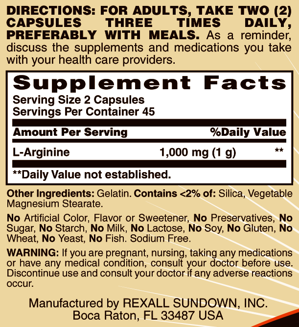 Sundown Naturals L-Arginine Capsules 500mg, 90CT
