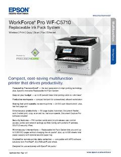 View Epson WorkForce Pro WF-C5710 Replaceable Ink Pack System Product Specifications PDF