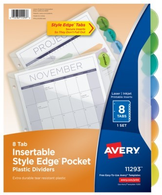 Avery Style Edge Insertable Dividers With Pockets Multicolor Pack Of