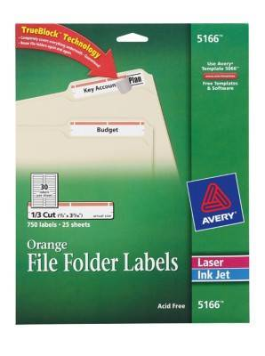 Avery trueblock permanent inkjetlaser file folder labels for Avery 5166 template