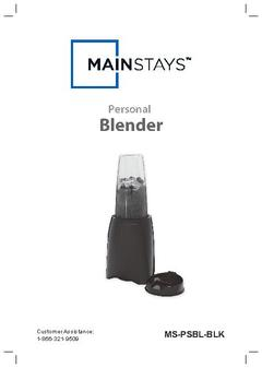 Mainstays Black Personal Blender Instruction Manual