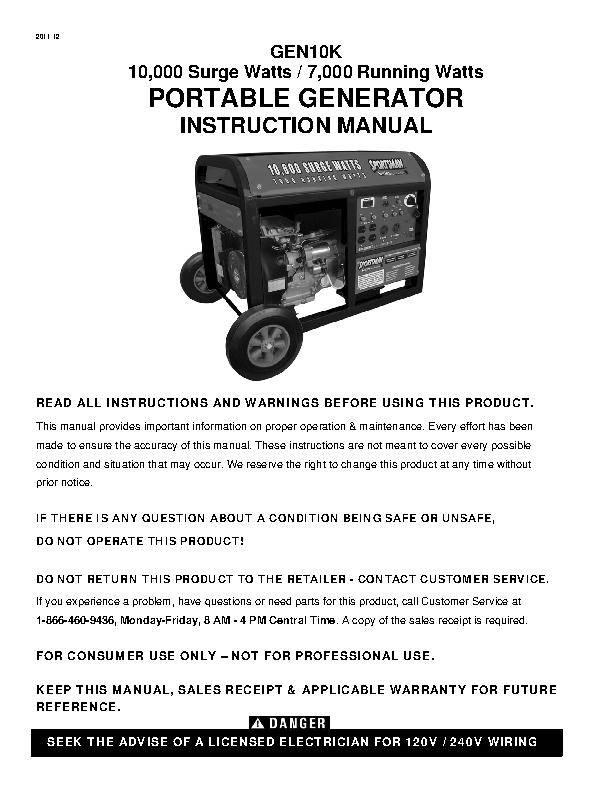 Generator Wattage Worksheet : Sportsmans series watt generator walmart