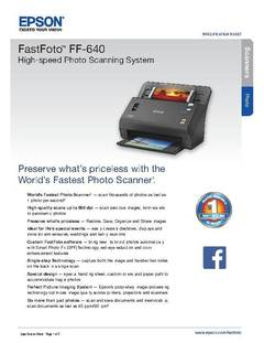 View Epson FastFoto FF-640 High-Speed Photo Scanning System Product Specifications PDF